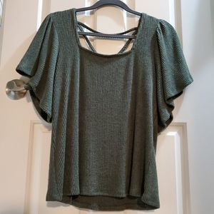 Maurices ribbed marled green top sz M